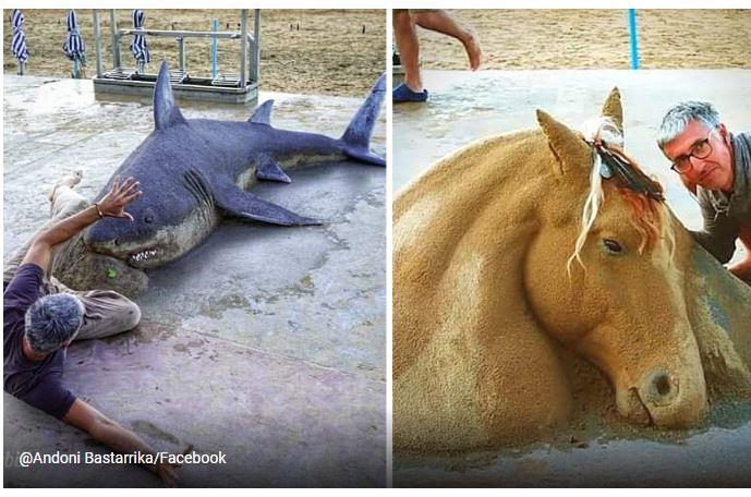 L'artista che crea con la sabbia animali che sembrano veri